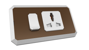 Brown vibrant with 12A 3-pin universal switched socket outlet with white.