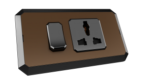Brown vibrant with 12A 3-pin universal switched socket outlet with black.